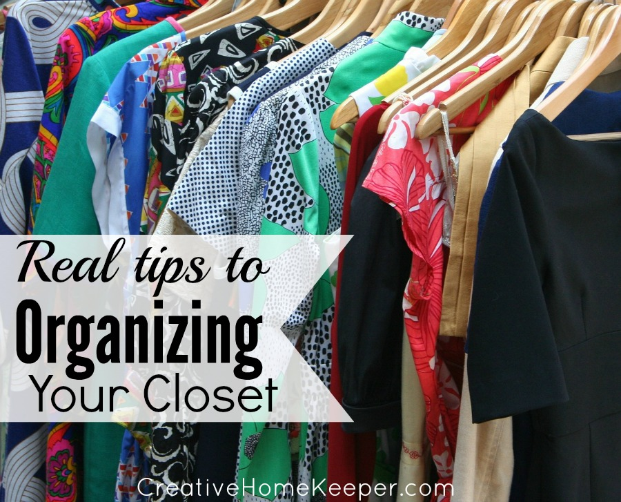 Real Tips to Organizing Your Closet: It doesn't have to be pretty to be organized. Want some practical, frugal and real tips to organize your closet? Use what you already have to create an organizational system that works for you. | CreativeHomeKeeper.com