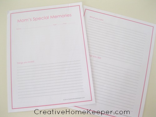 Mom's special memories is a keepsake printable to record all of those special everyday memories that you don't want to forget. | CreativeHomeKeeper.com