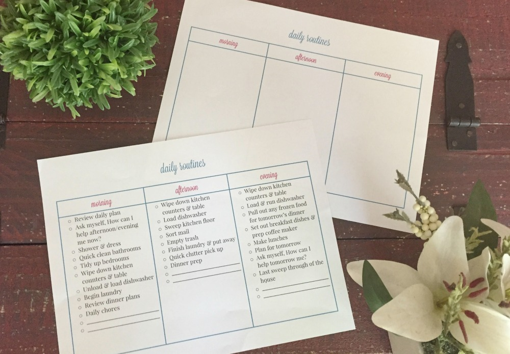 Creating a Daily Routine with a free printable