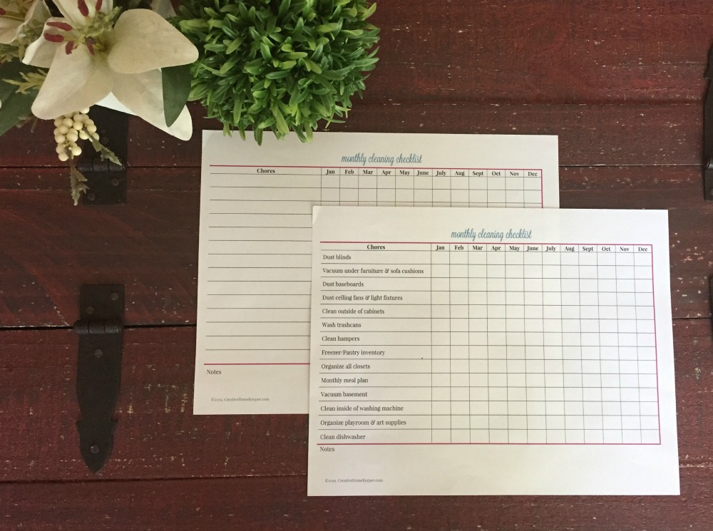 Monthly Cleaning Checklist Printable