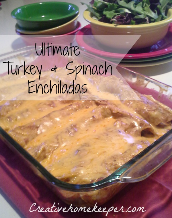 These turkey and spinach enchiladas are the ultimate in terms of flavor and taste! Simple ingredients, easy to prepare and freezer friendly, these can feed a crowd!