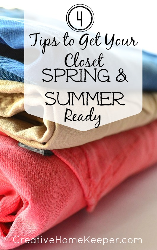 4 Tips to Get Your Closet Spring and Summer Ready - inspiration and motivation to organize, sort and purge items in your closet as well as making a prioritized shopping list of wants and needs which allows you to create and stick to a budget!