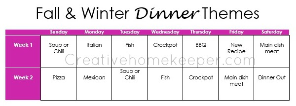 fall and winter dinner themes