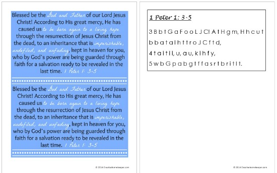 Download a FREE 1 Peter 1:3-5 verse card and Scripture memory aid to help you memorize Scripture to hide in your heart   CreativeHomeKeeper.com