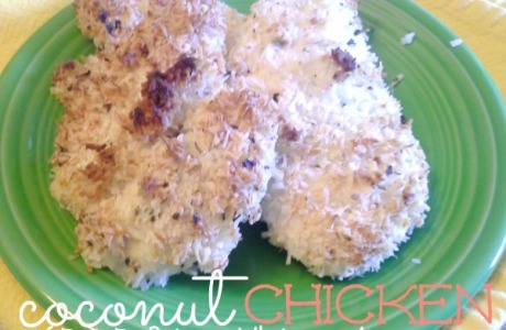 Coconut Chicken, a few ingredients, easy to whip up and super frugal too! Plus it's gluten free, diary free, Paleo and Whole 30 approved too! | CreativeHomeKeeper.com