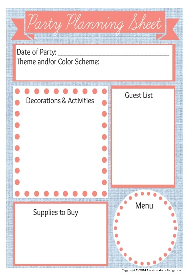 Printables Party Planning Worksheet planning birthday parties on a budget plus free printable can be done with little intention and