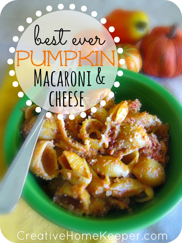 Best Ever Pumpkin Mac and Cheese: This pumpkin macaroni and cheese dish is delicious and a crowd pleaser. Warm, hearty, creamy and filling, its the perfect dish for the cooler nights of fall and winter. Plus it's freezer friendly too making it perfect for busy nights when you have to cook ahead. The whole family will love it! | CreativeHomeKeeper.com