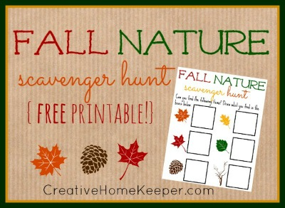 Enjoy a fun fall nature scavenger hunt with this fun free printable to use with your toddler or preschooler as you explore and enjoy the outdoors this fall | CreativeHomeKeeper.com