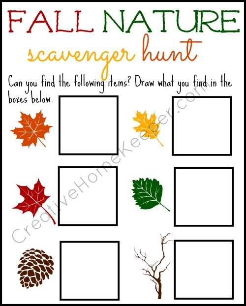 image relating to Fall Scavenger Hunt Printable called Drop Character Scavenger Hunt - Inventive Dwelling Keeper