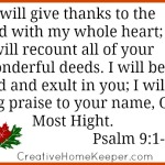 A Thankful Heart, Psalm 9:1-2 {Bible to Brain to Heart}