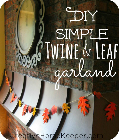 Add a little warmth and a touch of fall to your home with this simple DIY twine and leaf garland. Only a few supplies needed, this makes for an easy and frugal family friendly fall craft. | CreativeHomeKeeper.com