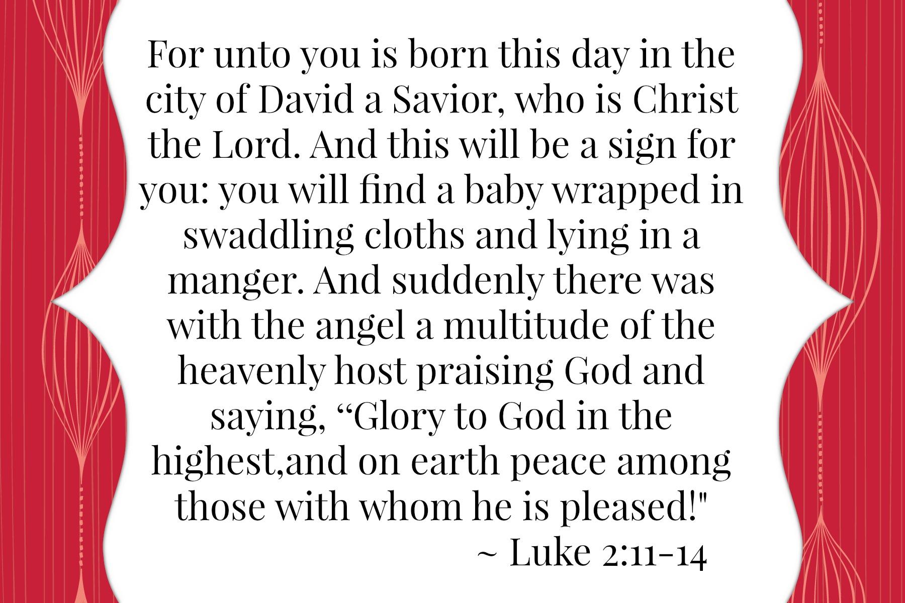 Luke 2:11-14 {Bible to Brain to Heart Scripture Memory Challenge}
