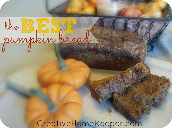 This is the BEST pumpkin bread recipe! It's SO GOOD! The whole family will love it, plus it's easy to whip together and freezes really well so you can make several at once. It's egg and nut free too. if allergies are a concern for your family but you can easily swap in an egg or throw some nuts in the batter. Make a loaf of this yummy pumpkin bread today! | CreativeHomeKeeper.com