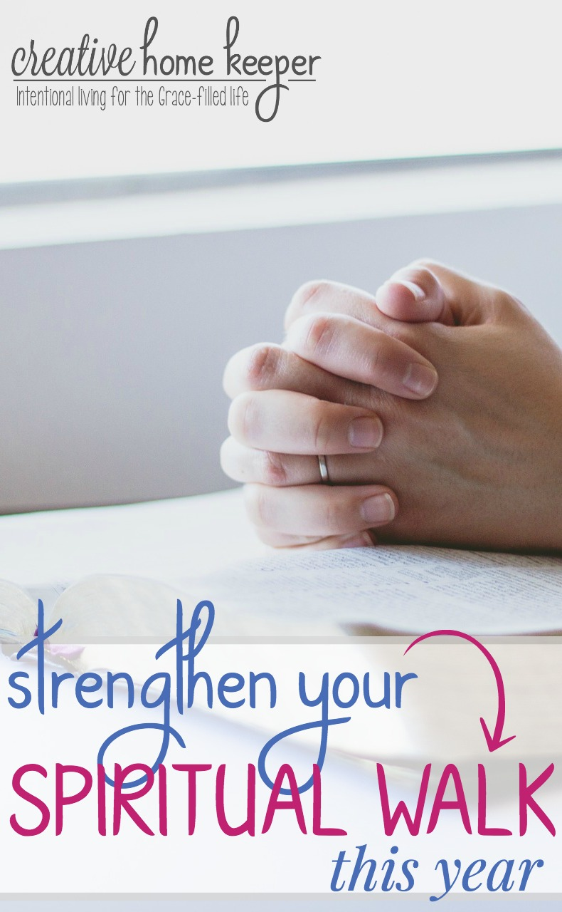 5 easy to implement tips to help you strengthen your walk with God this year to improve your spiritual life and draw closer to God through prayer, time in the Word and fellowship. Must read tips for busy moms!!!