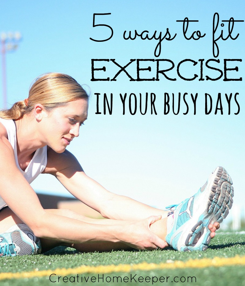 Finding the time to exercise when you're busy can be a challenge, especially if you have little ones. One mom shares 5 ways to fit exercise into your busy days from the creative to the obvious, everyone can find time to squeeze in a little exercise!