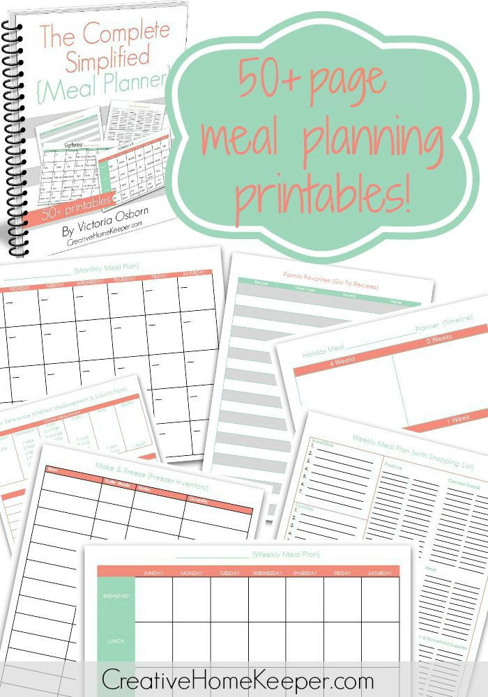 The Complete Simplified Meal Planner  Creative Home Keeper