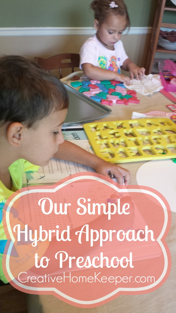 Looking for some simple resources to include in your preschool at home plan? Or are you doing a mix of both school and at home? This simple hybrid approach outlines how one family structures their preschool to be intentional, Bible focused and grace filled when it comes to a flexible schedule. Includes links to all resources used, including a free preschool curriculum!