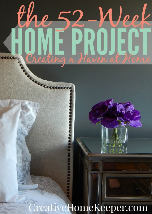 Create a haven at home with the 52-week home project. Small, managable weekly tasks and challenges to create a space that promotes peace, inspires creativity, nurtures your family and is not only more organized but also runs with more purpose and intention.