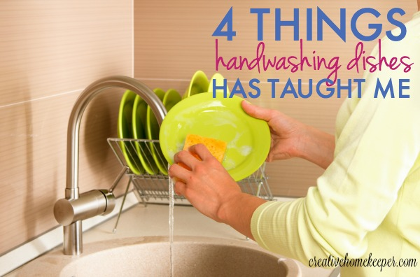 Handwashing dishes used to be a chore but now it is one of my favorite things. I've learned a few lessons when our dishwasher broke including embracing my philosophy of trying to live as minimally as possible and scrubbing out any negative Mommy attitude during the day, not to mention reminding me to pray!