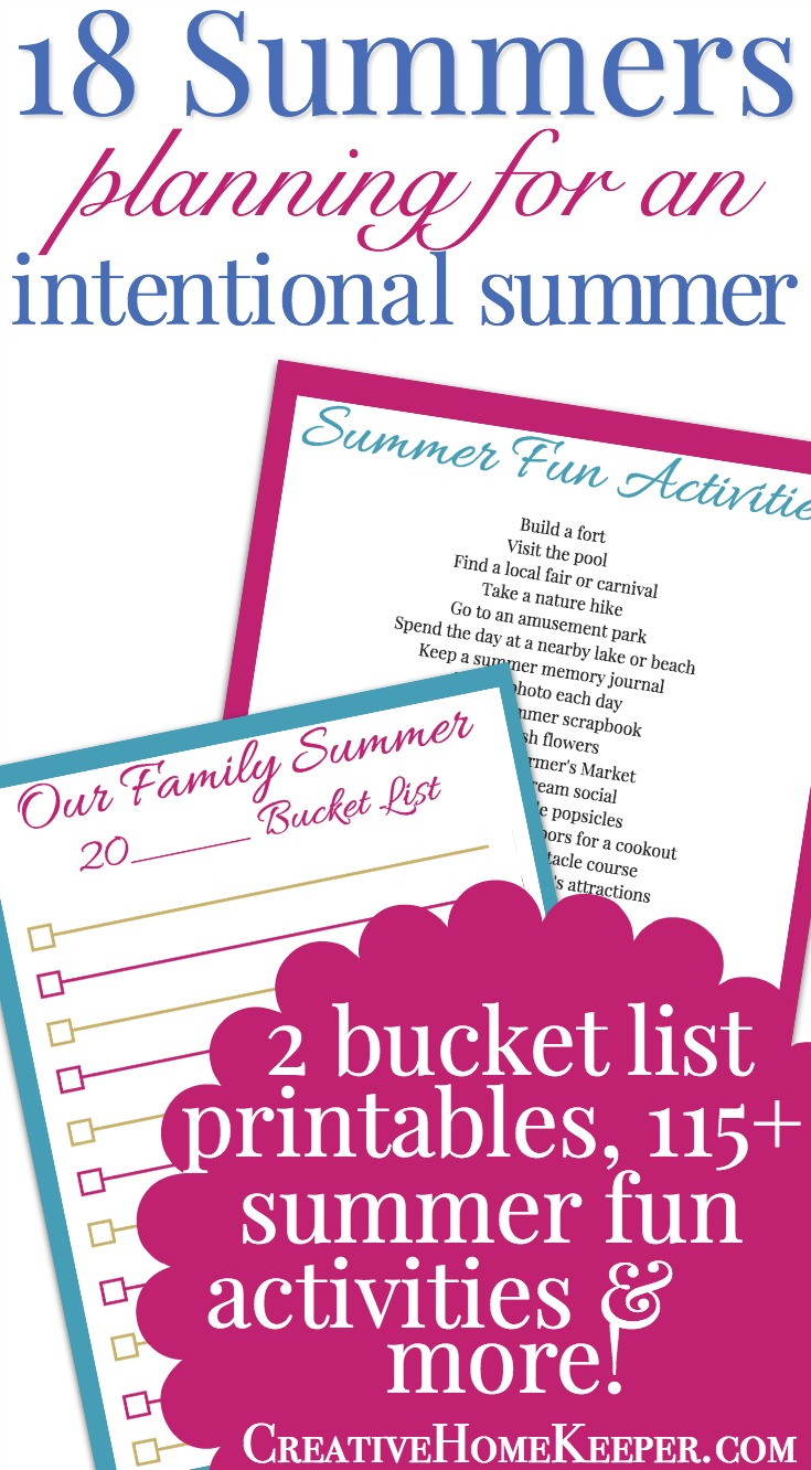 Planning for an intentional summer is a great investment into your family. Use this summer bucket list printable to brainstorm and create a list of activities your family would like to complete together as a family over the summer months.