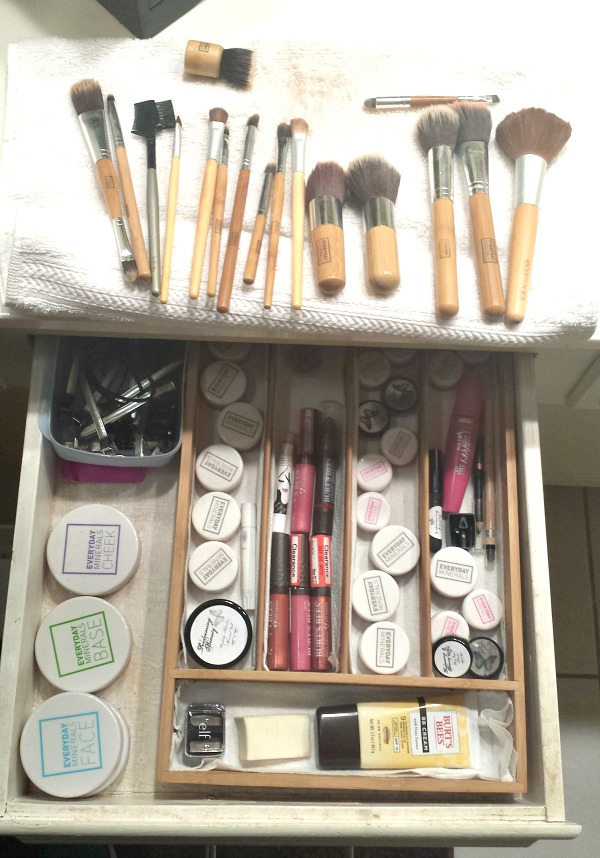 Sorting through and purging of our personal beauty products on a regular basis, is a key component to bathroom organization.