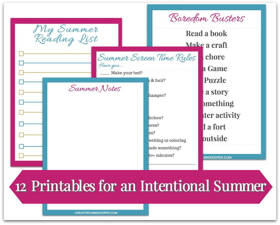 Want to plan a simple and meaningful summer your kids will remember for years to come? Download the free Your Intentional SUMMER Pack today. It includes 16 printables including a summer BUCKET LIST to help you plan activities for the BEST summer for YOUR family!