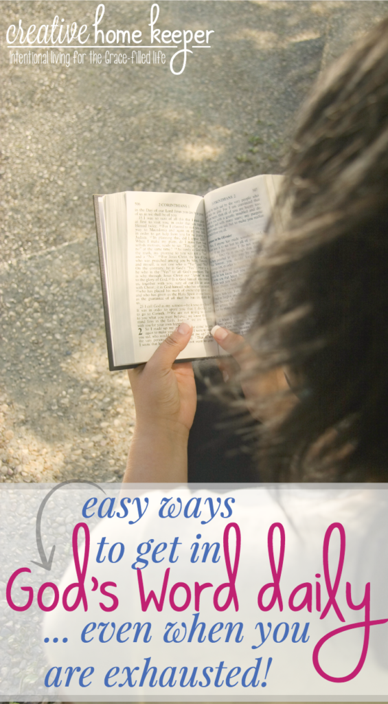 Are you struggling to get in God's Word daily? It's hard when we are exhausted, busy and there are so many distractions calling our name. Daily spend time in the Bible with these 4 easy ways, perfect for tired moms!