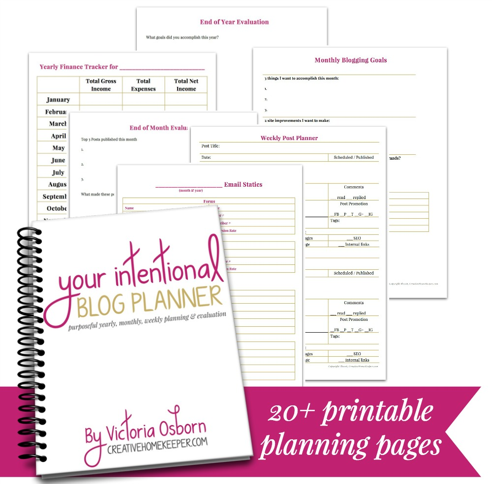 Your Intentional Blog Planner is a clean and simple planning and evaluation tool that will take your blog to the next level with over 20 customizable, printable pages.