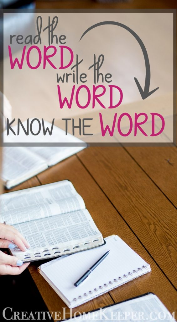 The simple discipline of writing out the Scriptures has made God's Word come alive & active to me than anything else I had done before to grow in my understanding of the Bible. Read the Word, Write the Word, KNOW the Word... that's powerful!