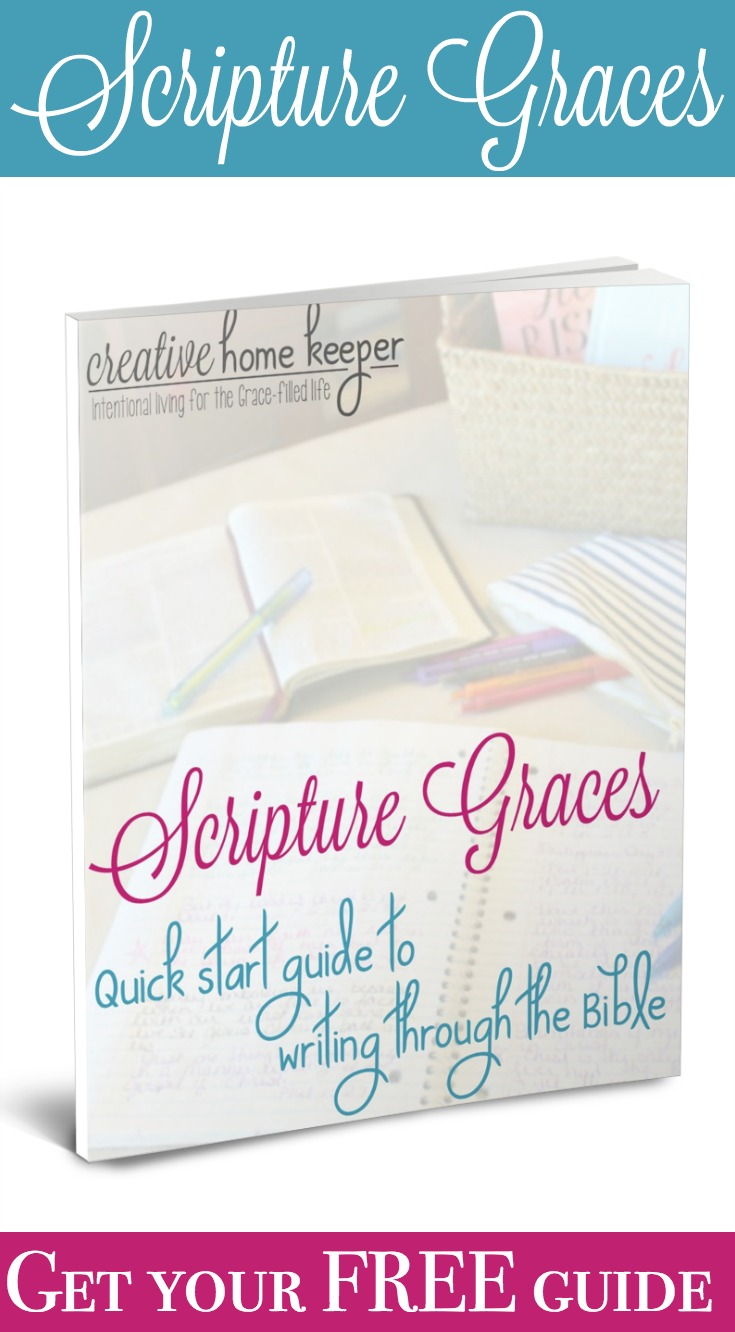 Want to get started writing out God's Word but don't know where to begin? Scripture Graces: A Quick Start Guide to Help You Write Through the Bible is a free resource for you to download today to help you get started writing the Word with ease!