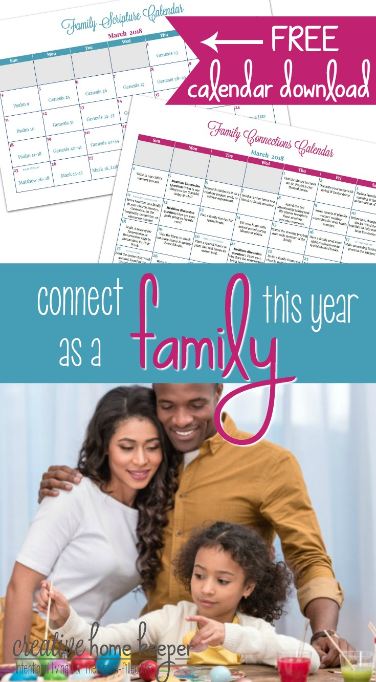Draw closer as a family this year with the Family Connections Calendar and Scripture reading plan. Each month includes simple and easy ways to connect as a family as well as a Scripture plan to read aloud together.