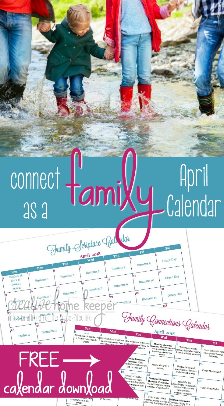 April Family Connections Calendar