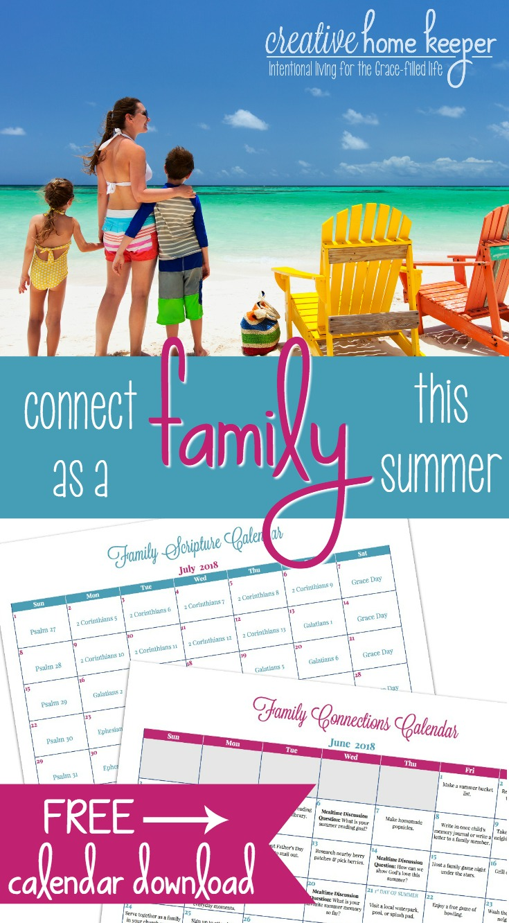 Draw closer as a family this summer with the June and July Family Connections Calendar and Scripture reading plan. Each month includes simple and easy ways to connect as a family as well as a Scripture plan to read aloud together.