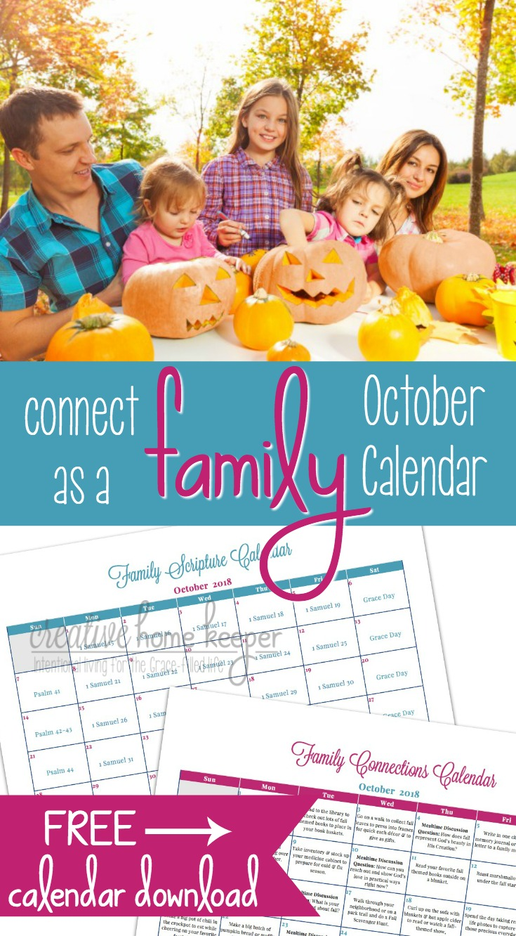 Draw closer as a family this summer with the OctoberFamily Connections Calendar and Scripture reading plan. Each month includes simple and easy ways to connect as a family as well as a Scripture plan to read aloud together.
