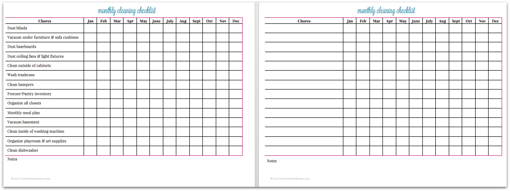 graphic relating to Cleaning Checklist Printables referred to as Month-to-month Cleansing List cost-free printable - Imaginative Residence