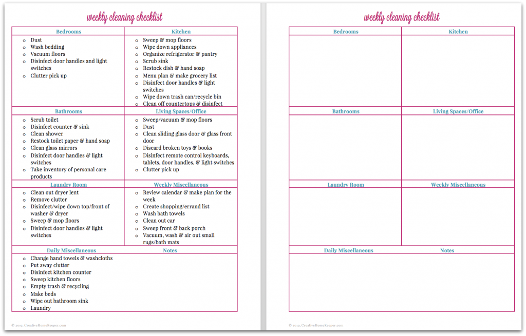 image about Weekly Cleaning Schedule Printable named Weekly Cleansing Listing Absolutely free printable - Resourceful Residence